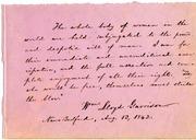Inscription on Women's Rights by William Lloyd Garrison