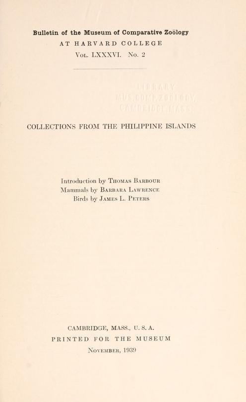 MCZ Bulletin Vol. LXXXVI no. 2
