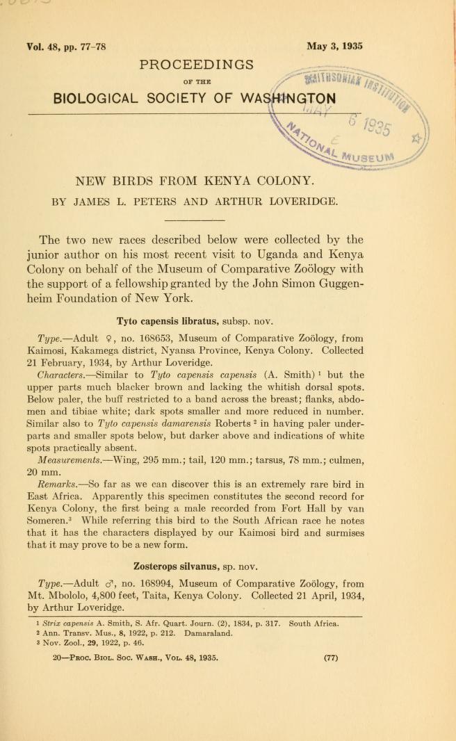 New Birds from Kenya Colony