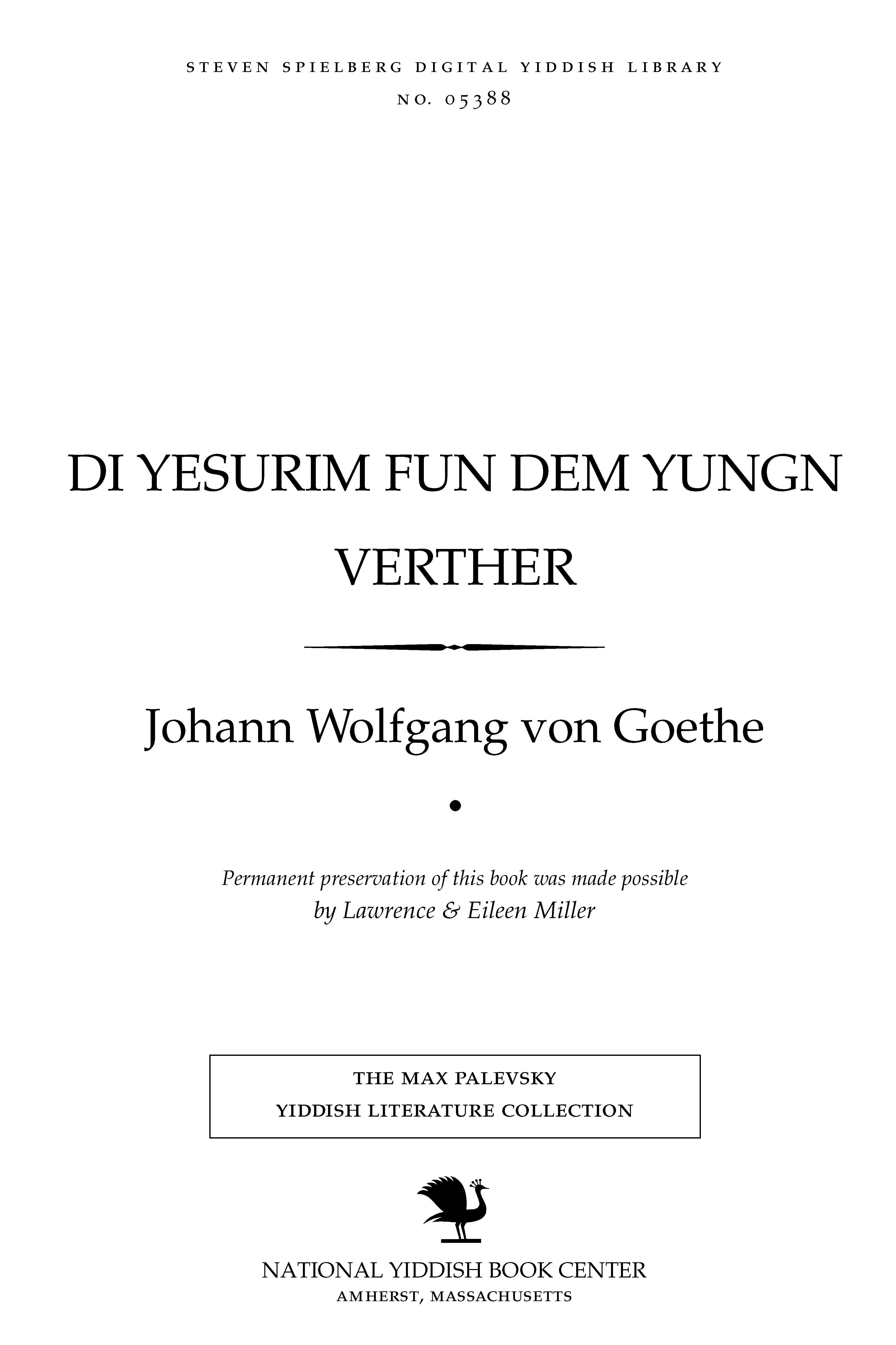Cover of: Di yesurim fun dem yungn Ṿerṭher